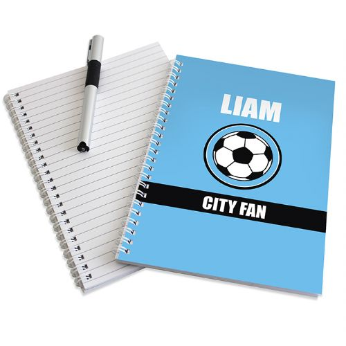 Personalised Sky Blue Football Fan Notebook